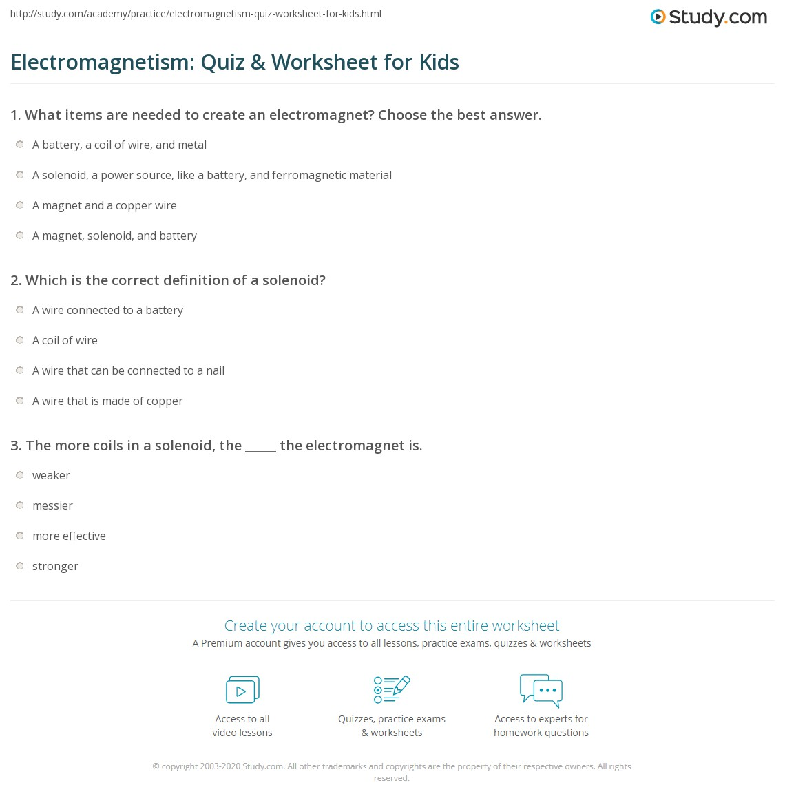 Electromagnetism Quiz Amp Worksheet For Kids