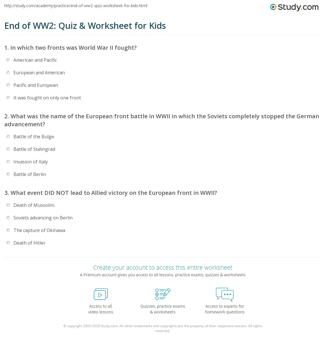 End Of Ww2 Quiz Amp Worksheet For Kids