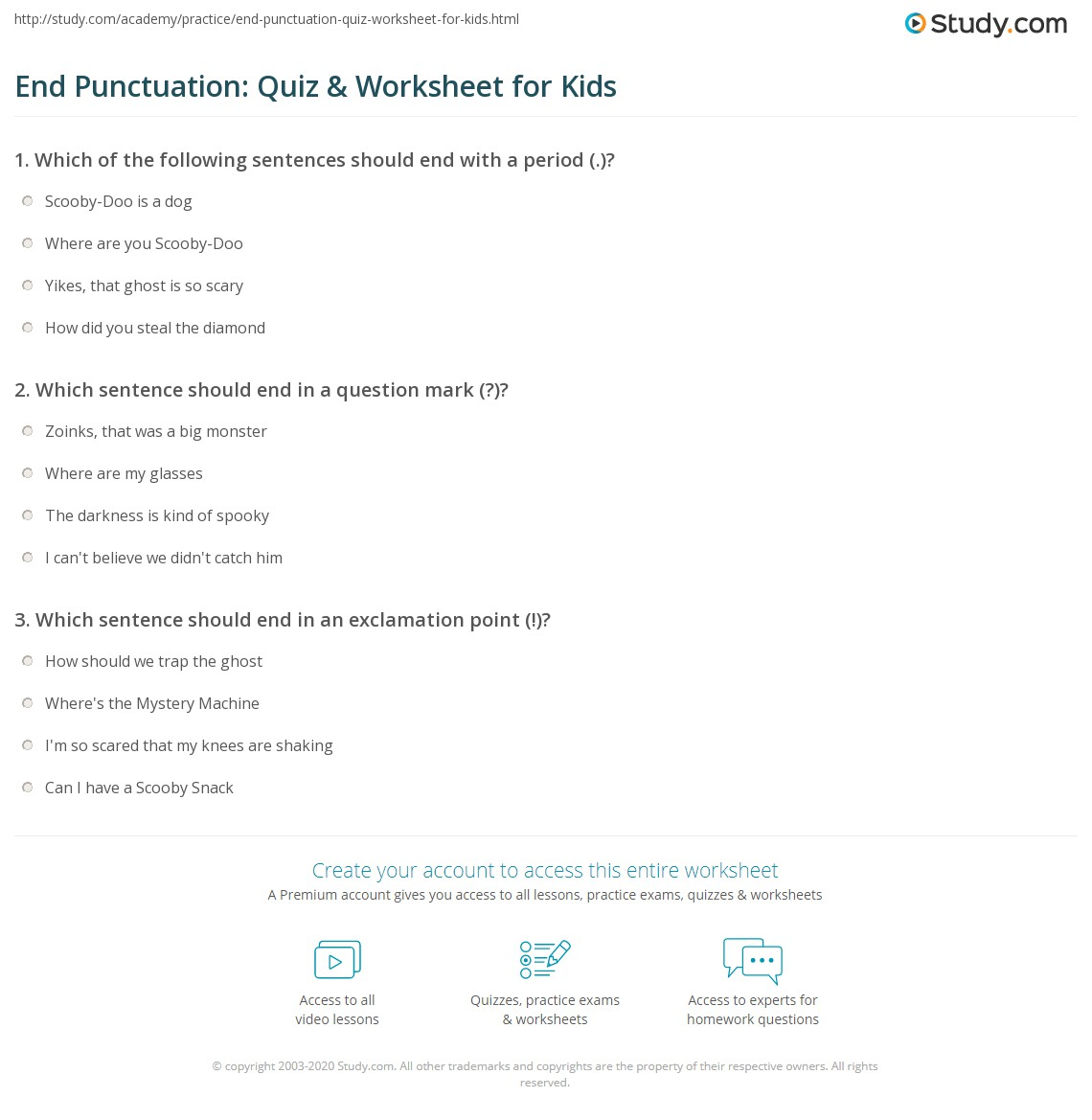 hight resolution of End Punctuation: Quiz \u0026 Worksheet for Kids   Study.com