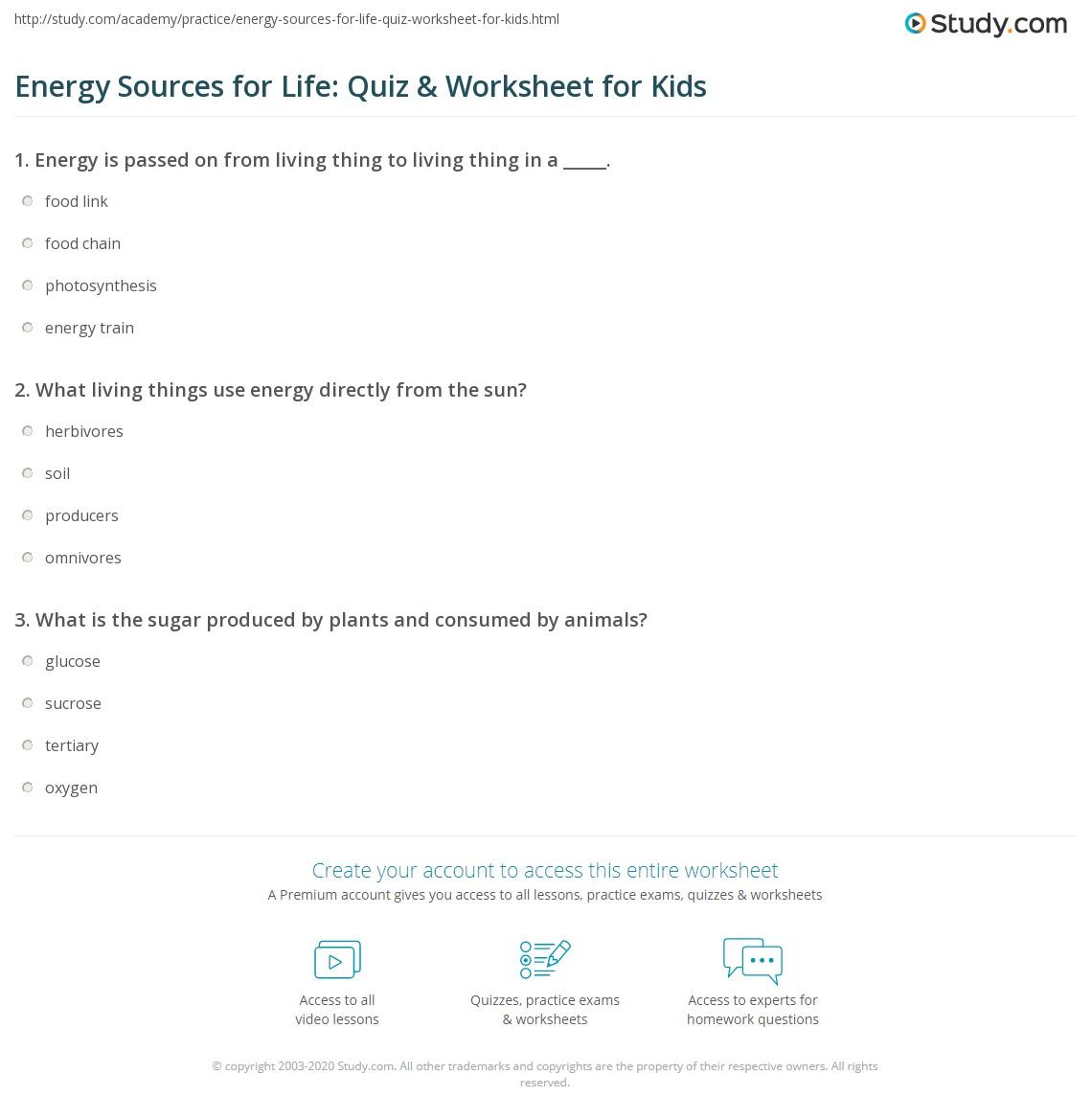 Energy Sources For Life Quiz Amp Worksheet For Kids