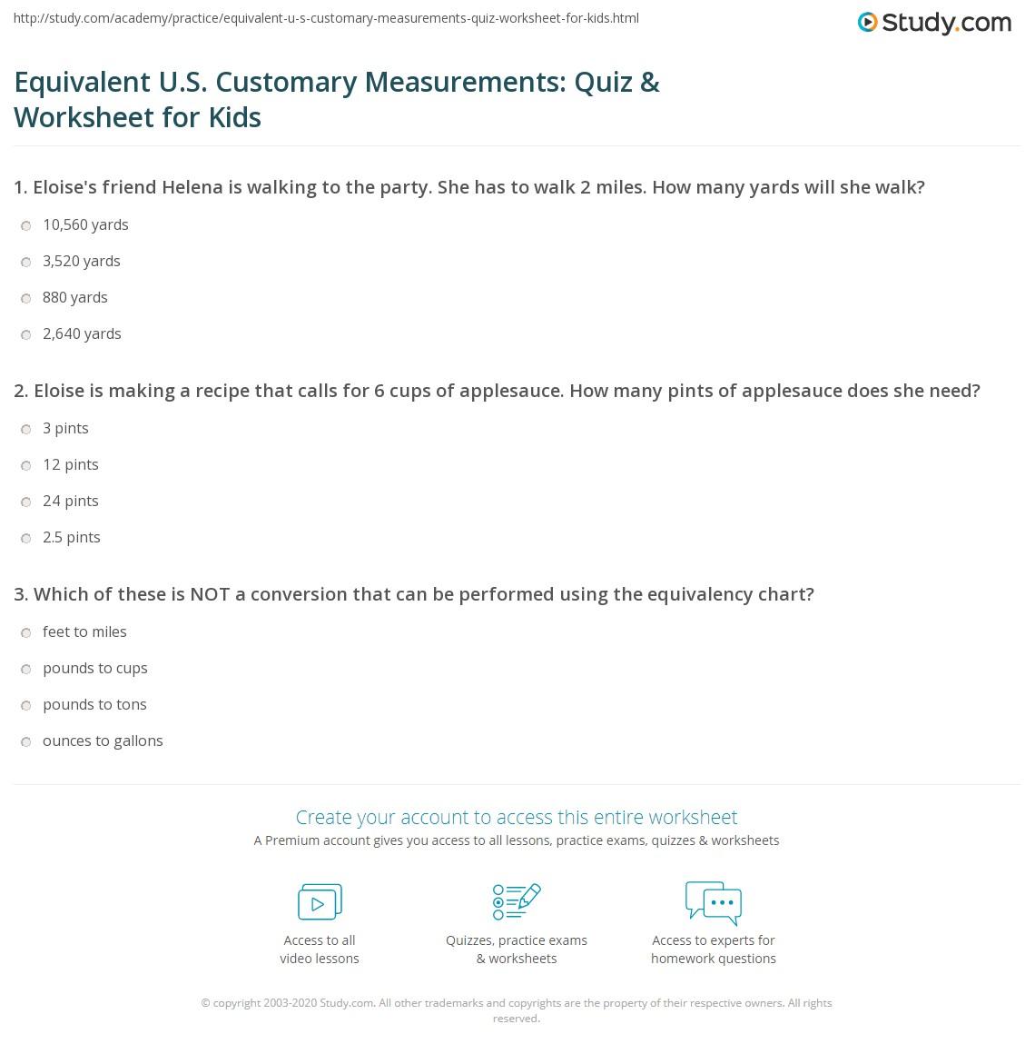 hight resolution of Equivalent U.S. Customary Measurements: Quiz \u0026 Worksheet for Kids    Study.com