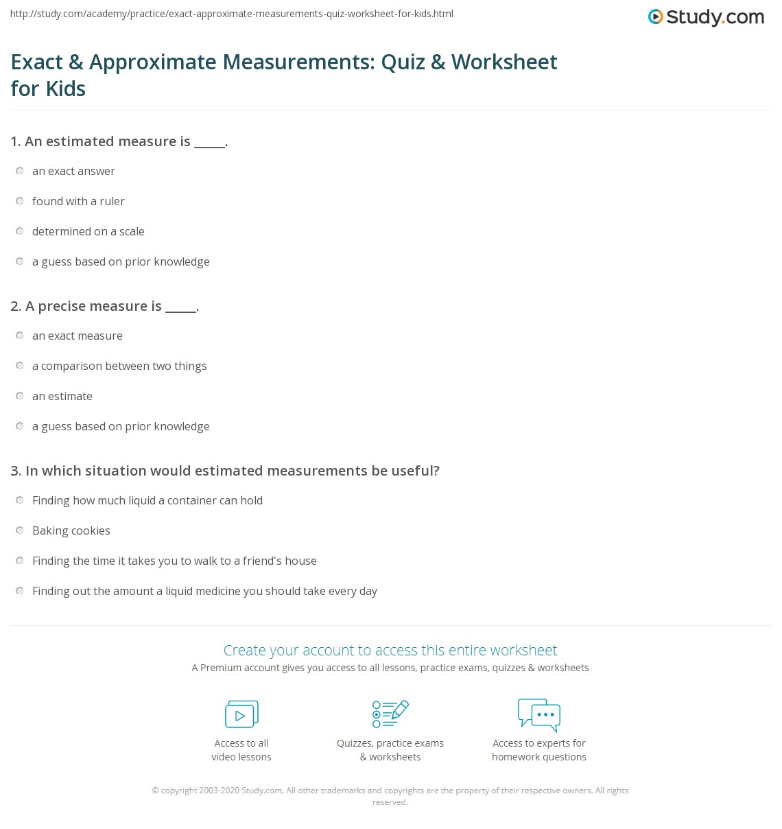 Exact Amp Approximate Measurements Quiz Amp Worksheet For