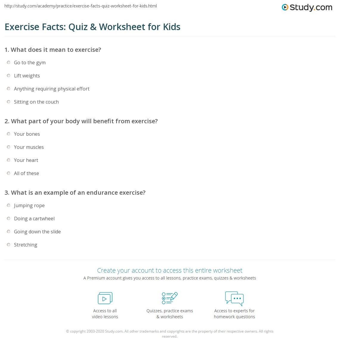 Exercise Facts Quiz Amp Worksheet For Kids