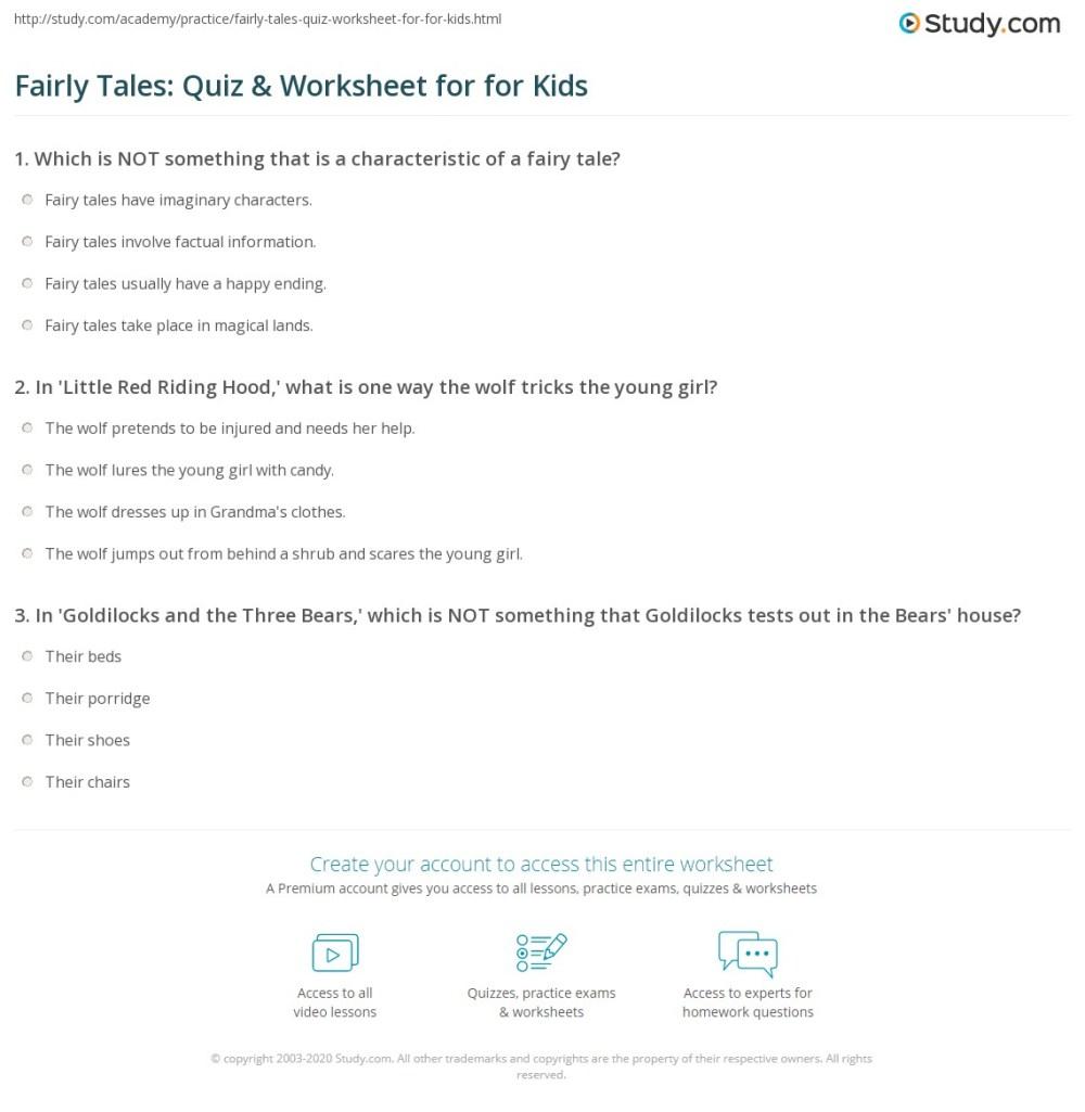 medium resolution of Fairly Tales: Quiz \u0026 Worksheet for for Kids   Study.com