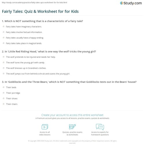 small resolution of Fairly Tales: Quiz \u0026 Worksheet for for Kids   Study.com
