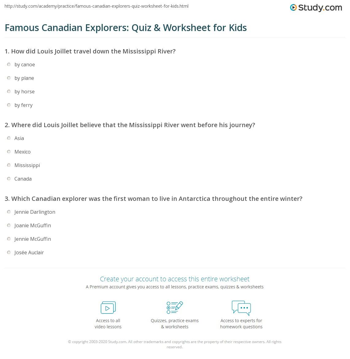 Famous Canadian Explorers Quiz Amp Worksheet For Kids