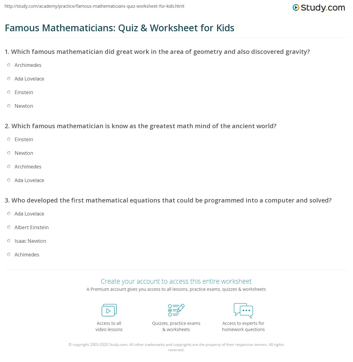 Famous Mathematicians Quiz Amp Worksheet For Kids