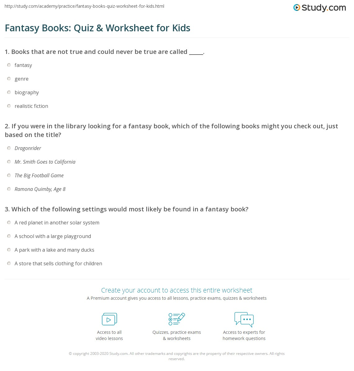 Fantasy Books Quiz Amp Worksheet For Kids