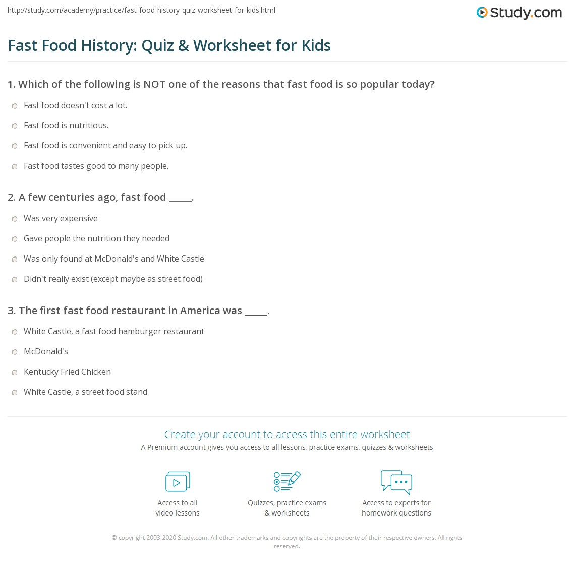 Fast Food History Quiz Amp Worksheet For Kids