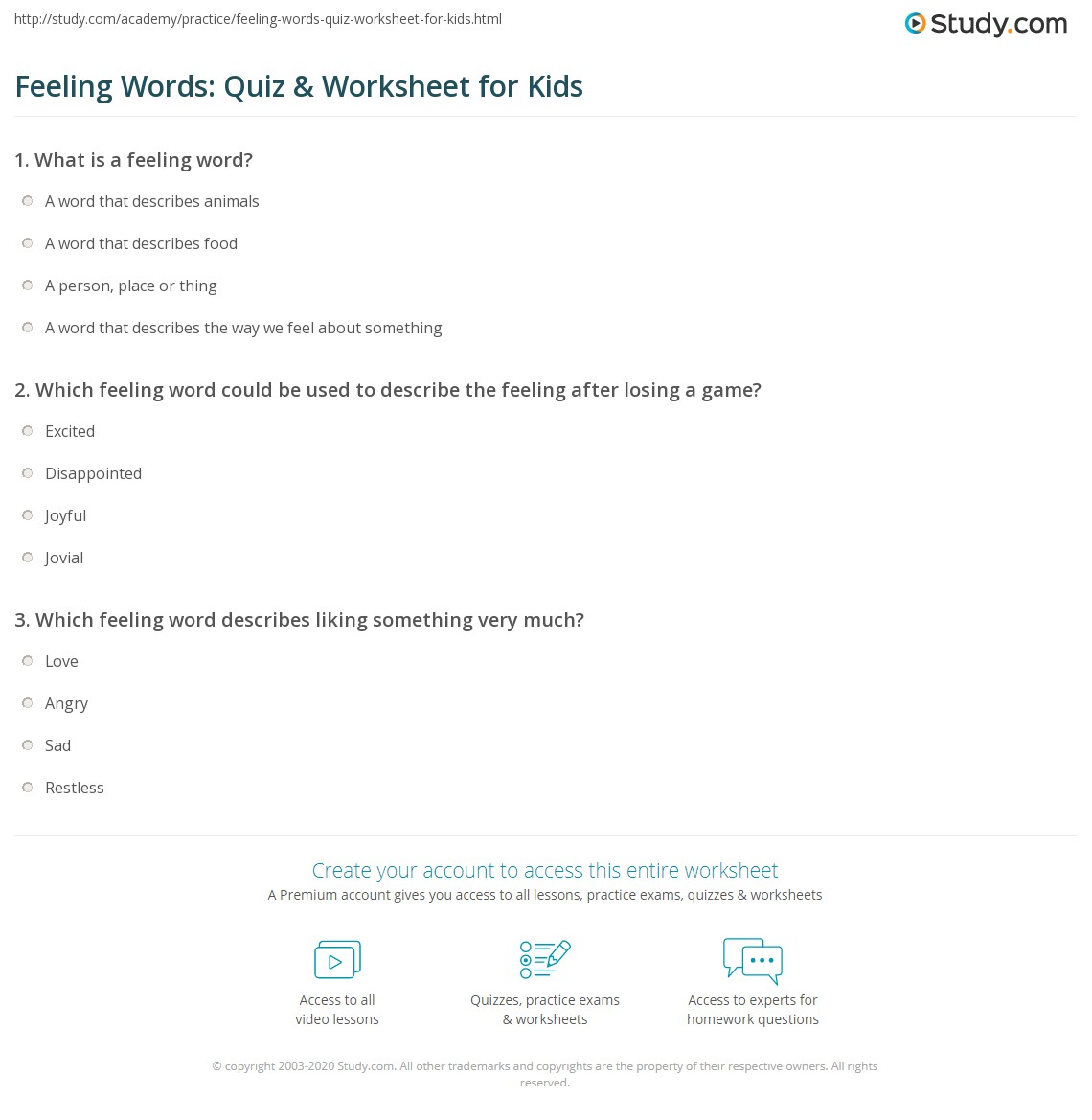 Feeling Words Quiz Amp Worksheet For Kids