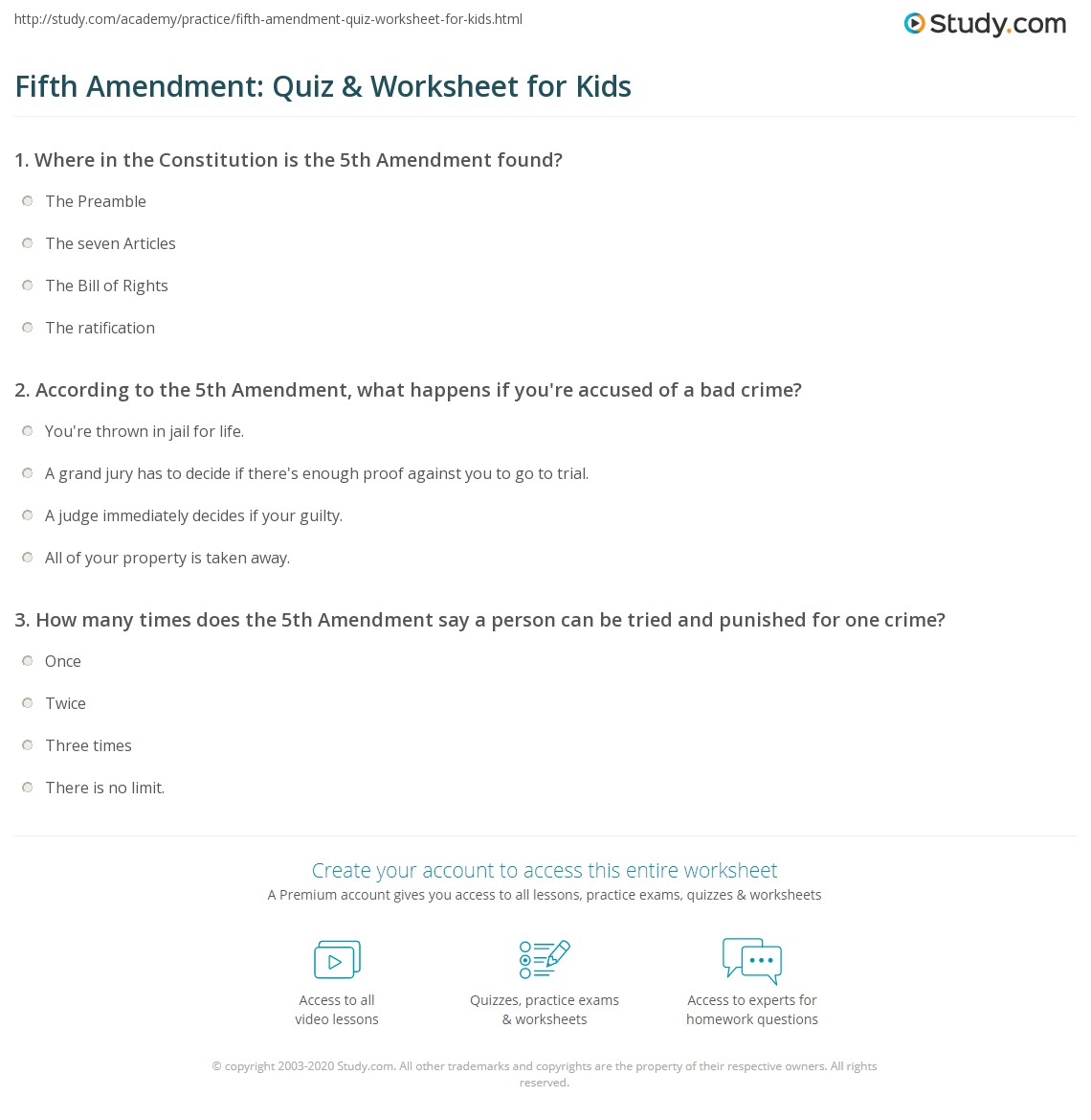 Fifth Amendment Quiz Amp Worksheet For Kids