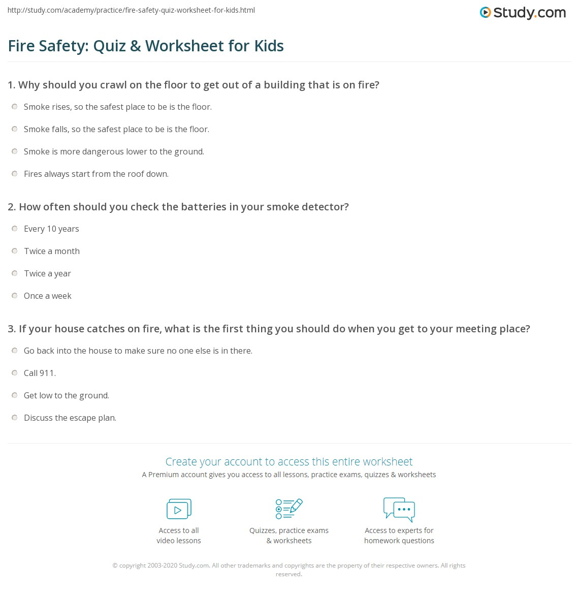 Fire Safety Quiz Amp Worksheet For Kids