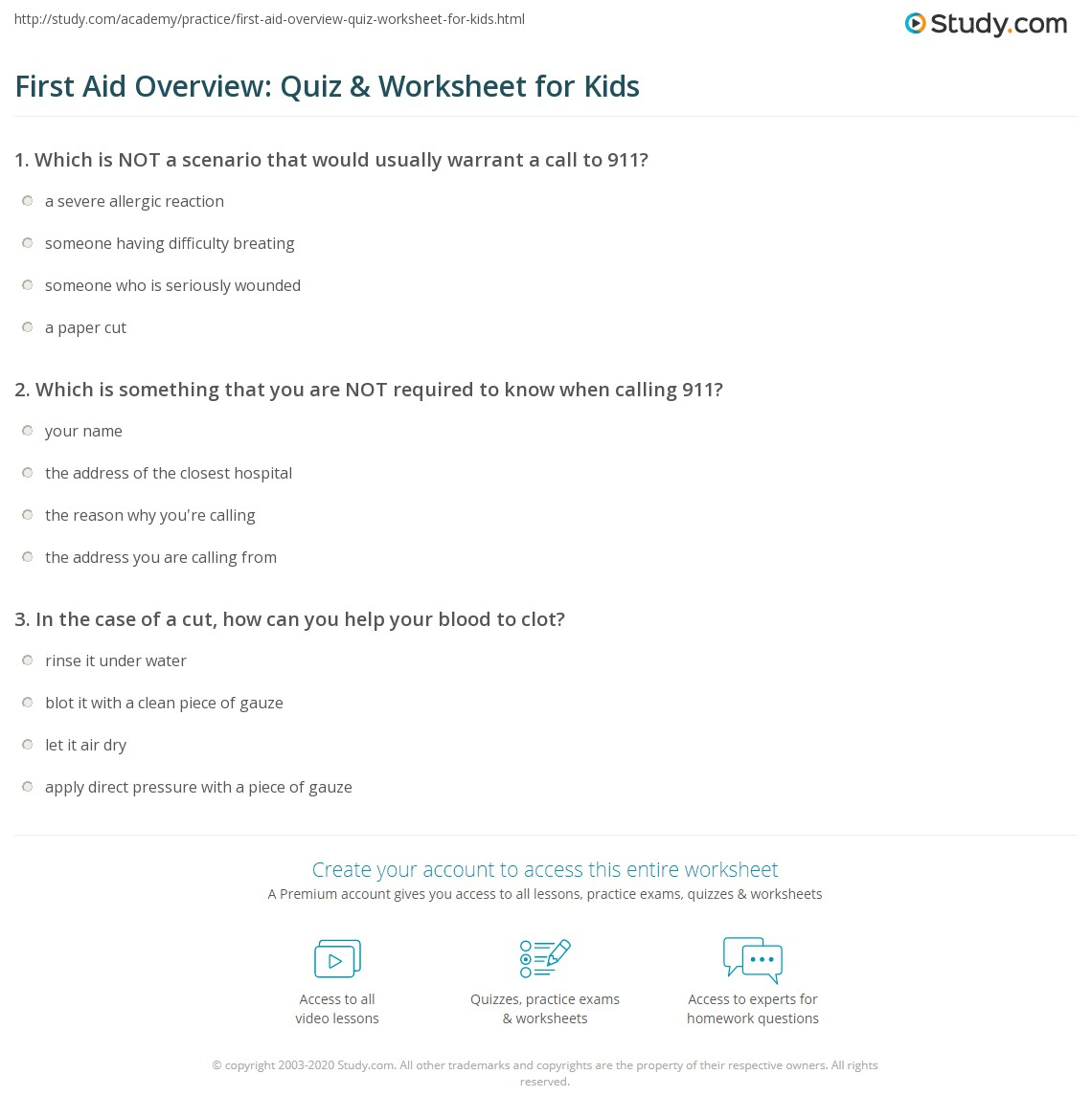 First Aid Overview Quiz Amp Worksheet For Kids