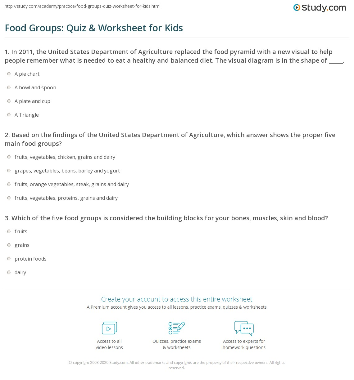 Food Groups Quiz Amp Worksheet For Kids