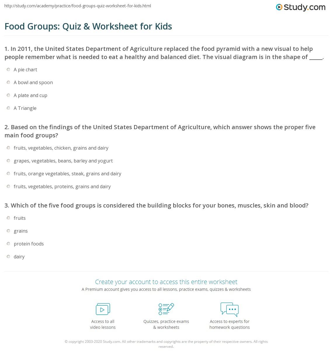hight resolution of Food Groups: Quiz \u0026 Worksheet for Kids   Study.com