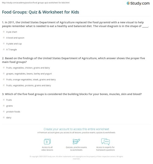 small resolution of Food Groups: Quiz \u0026 Worksheet for Kids   Study.com