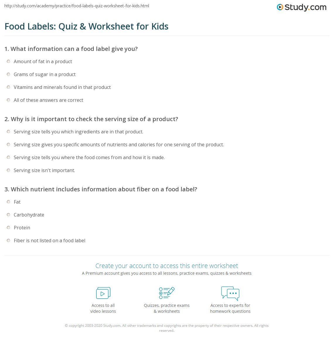 Food Labels Quiz Amp Worksheet For Kids