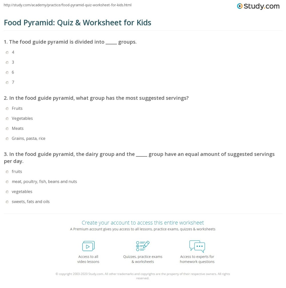 medium resolution of Food Pyramid: Quiz \u0026 Worksheet for Kids   Study.com