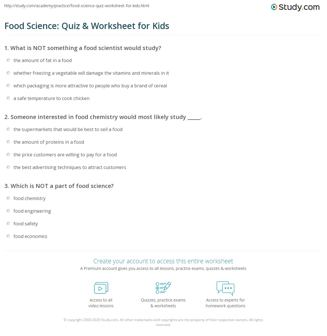 Food Science Quiz Amp Worksheet For Kids