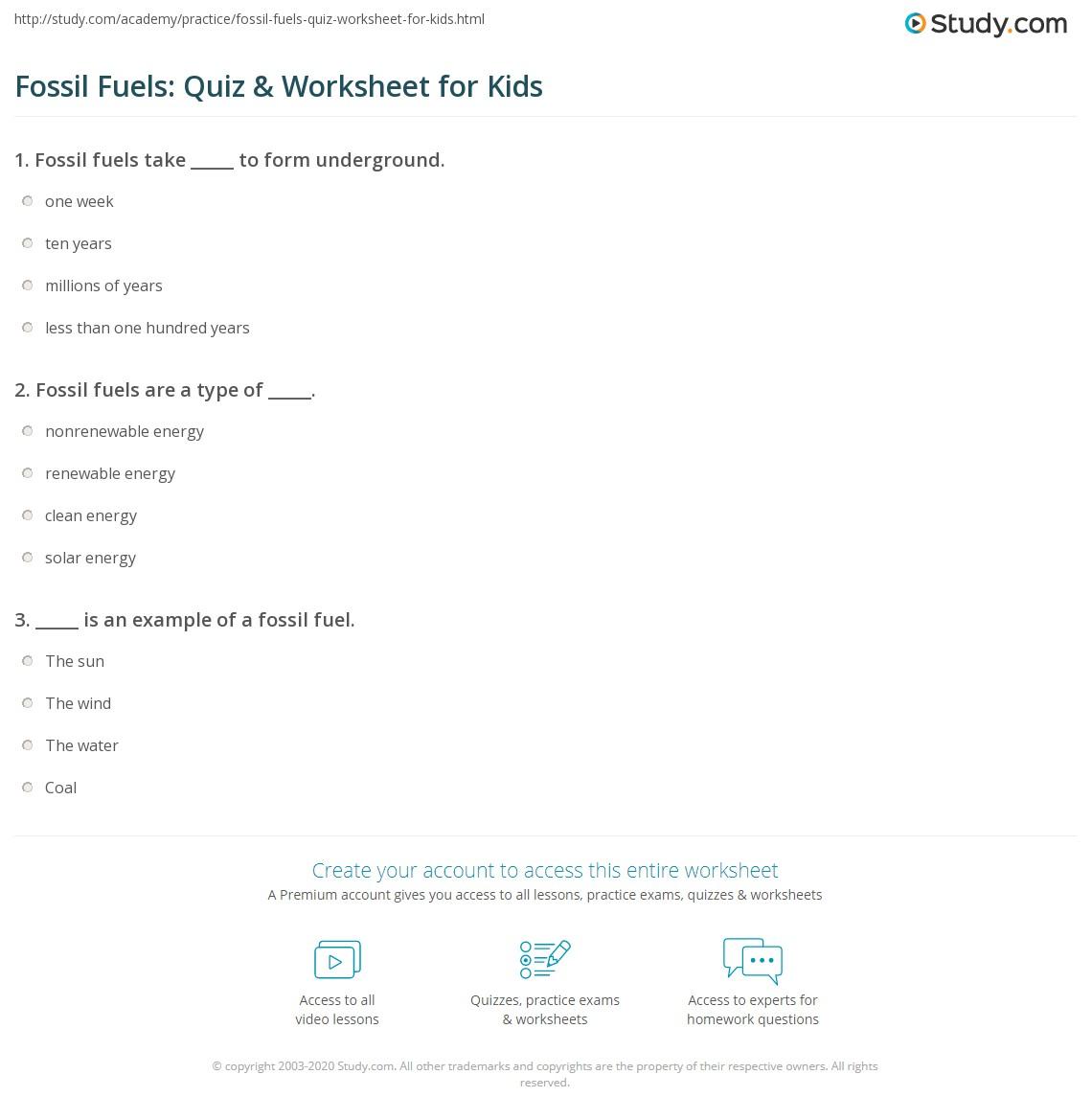 hight resolution of Fossil Fuels: Quiz \u0026 Worksheet for Kids   Study.com