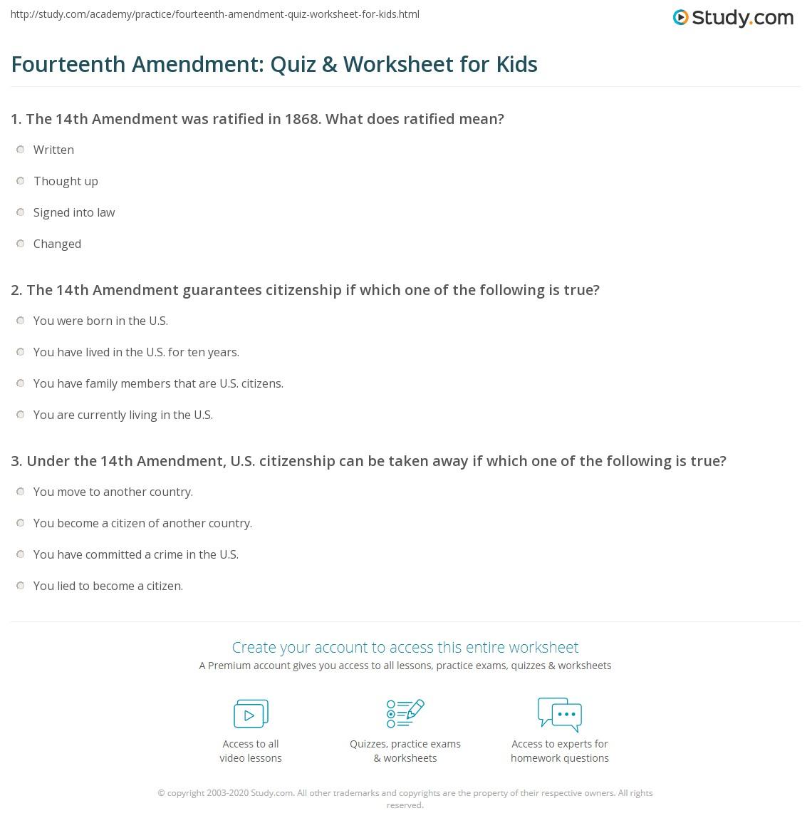 Fourteenth Amendment Quiz Amp Worksheet For Kids