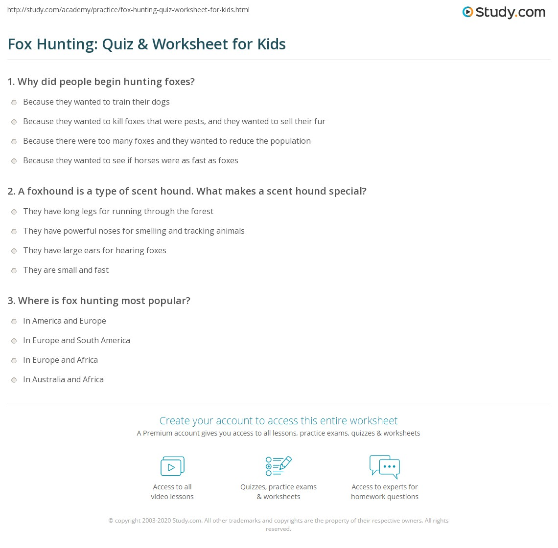 Fox Hunting Quiz Amp Worksheet For Kids