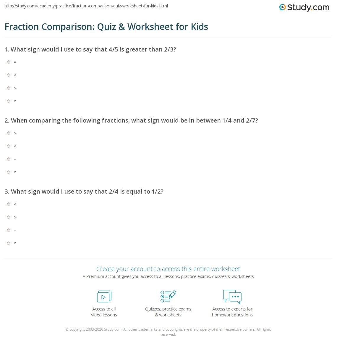 Fraction Comparison Quiz Amp Worksheet For Kids