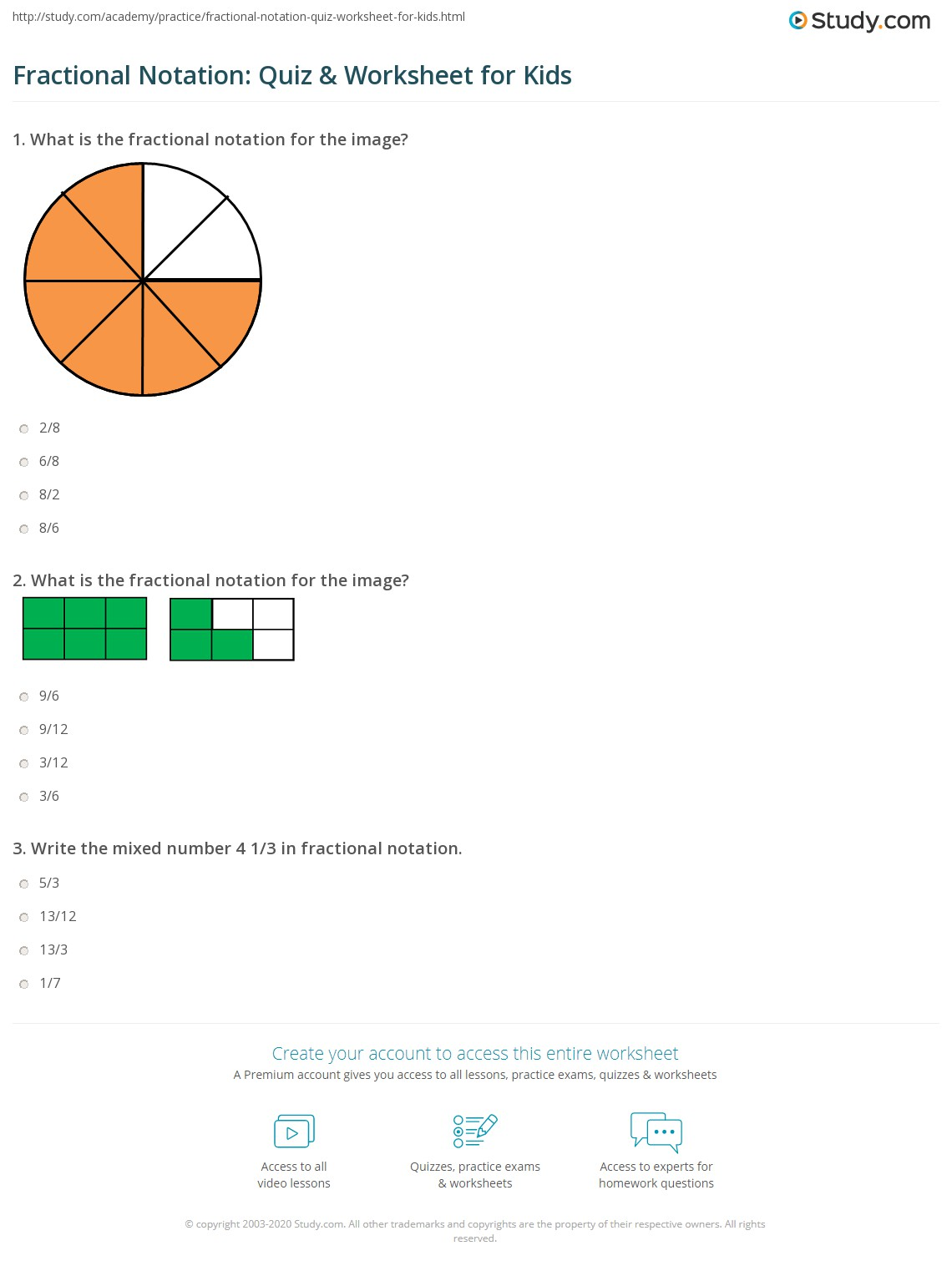 Fractional Notation Quiz Amp Worksheet For Kids