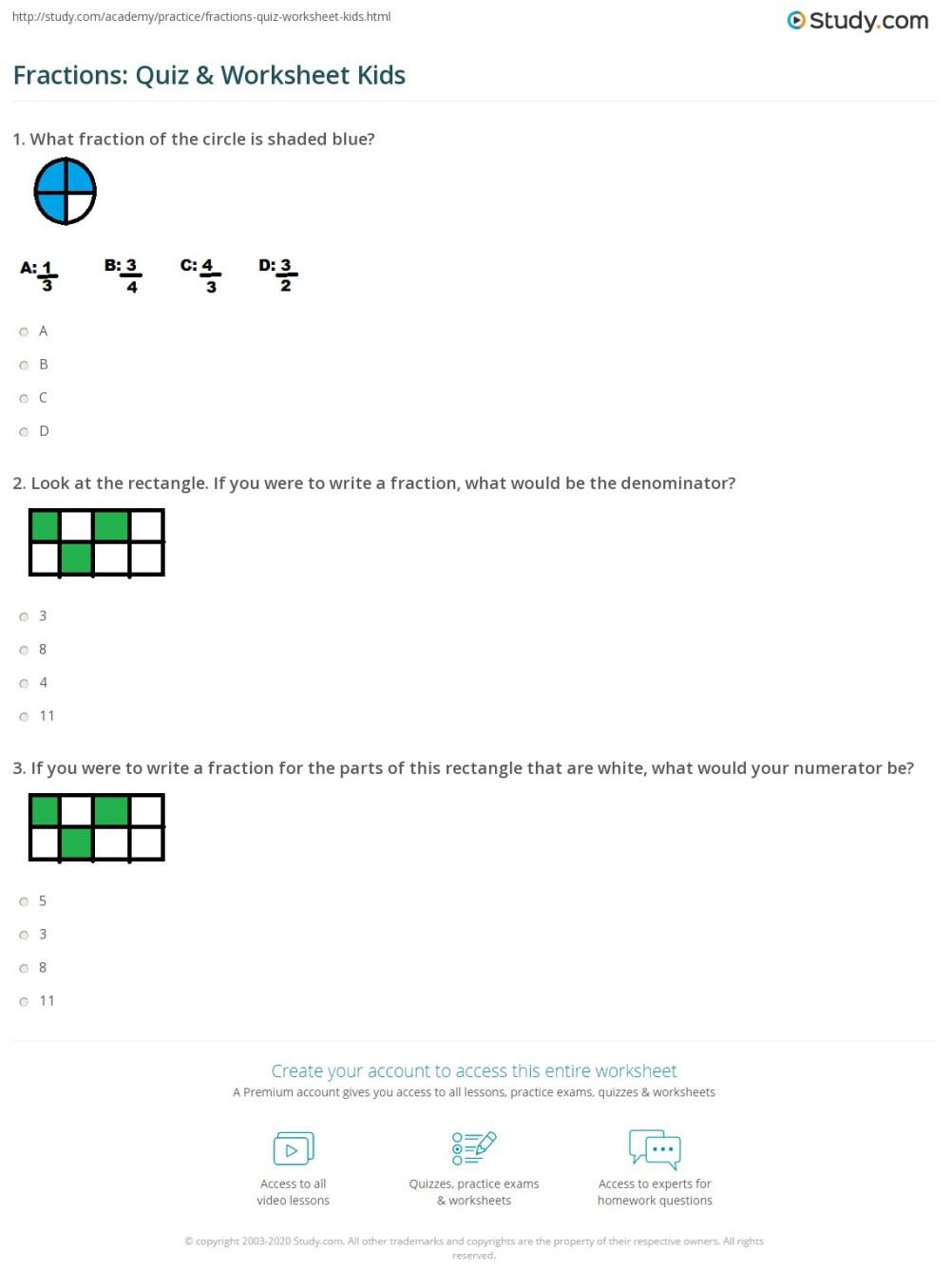 medium resolution of Fractions: Quiz \u0026 Worksheet Kids   Study.com