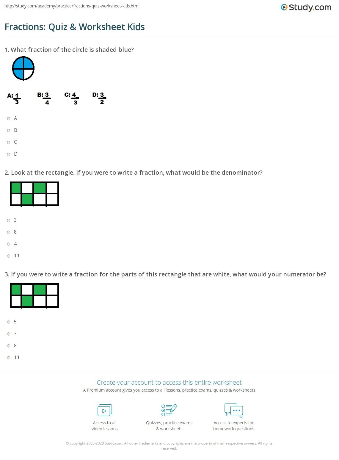 hight resolution of Fractions: Quiz \u0026 Worksheet Kids   Study.com