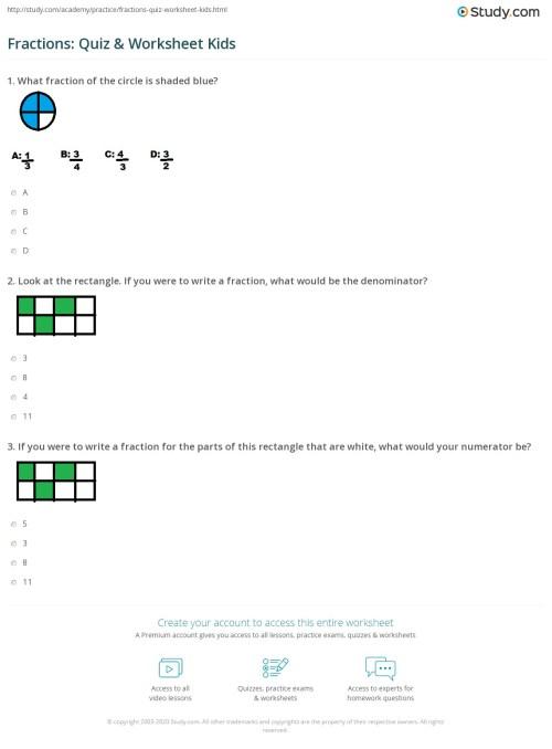 small resolution of Fractions: Quiz \u0026 Worksheet Kids   Study.com