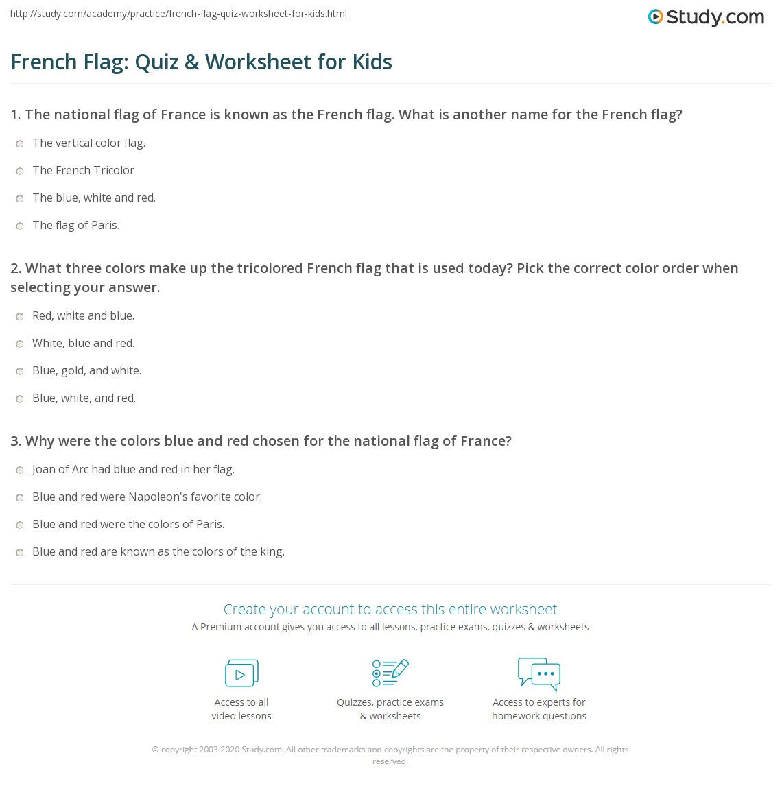 French Flag Quiz Amp Worksheet For Kids