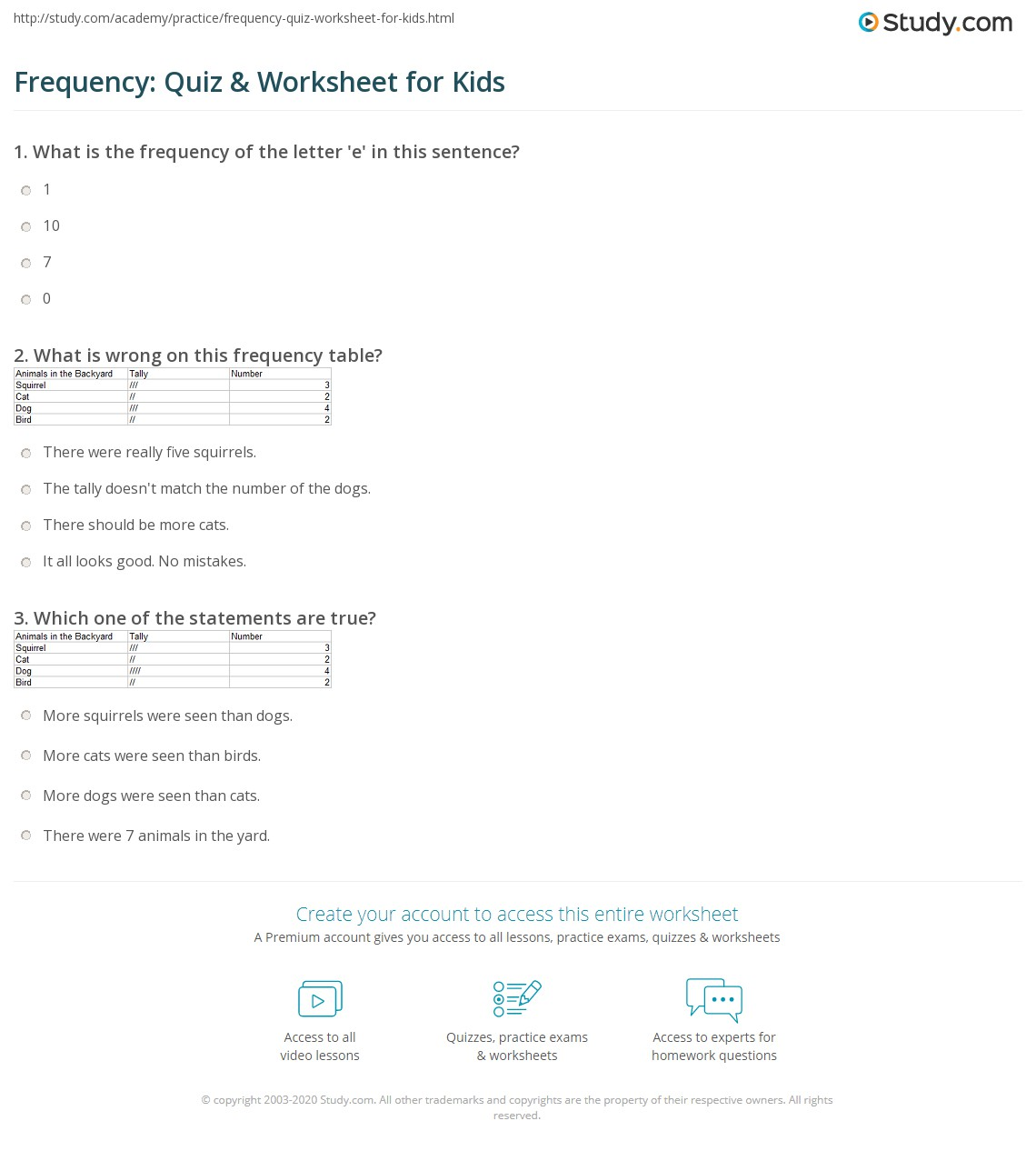Frequency Quiz Amp Worksheet For Kids