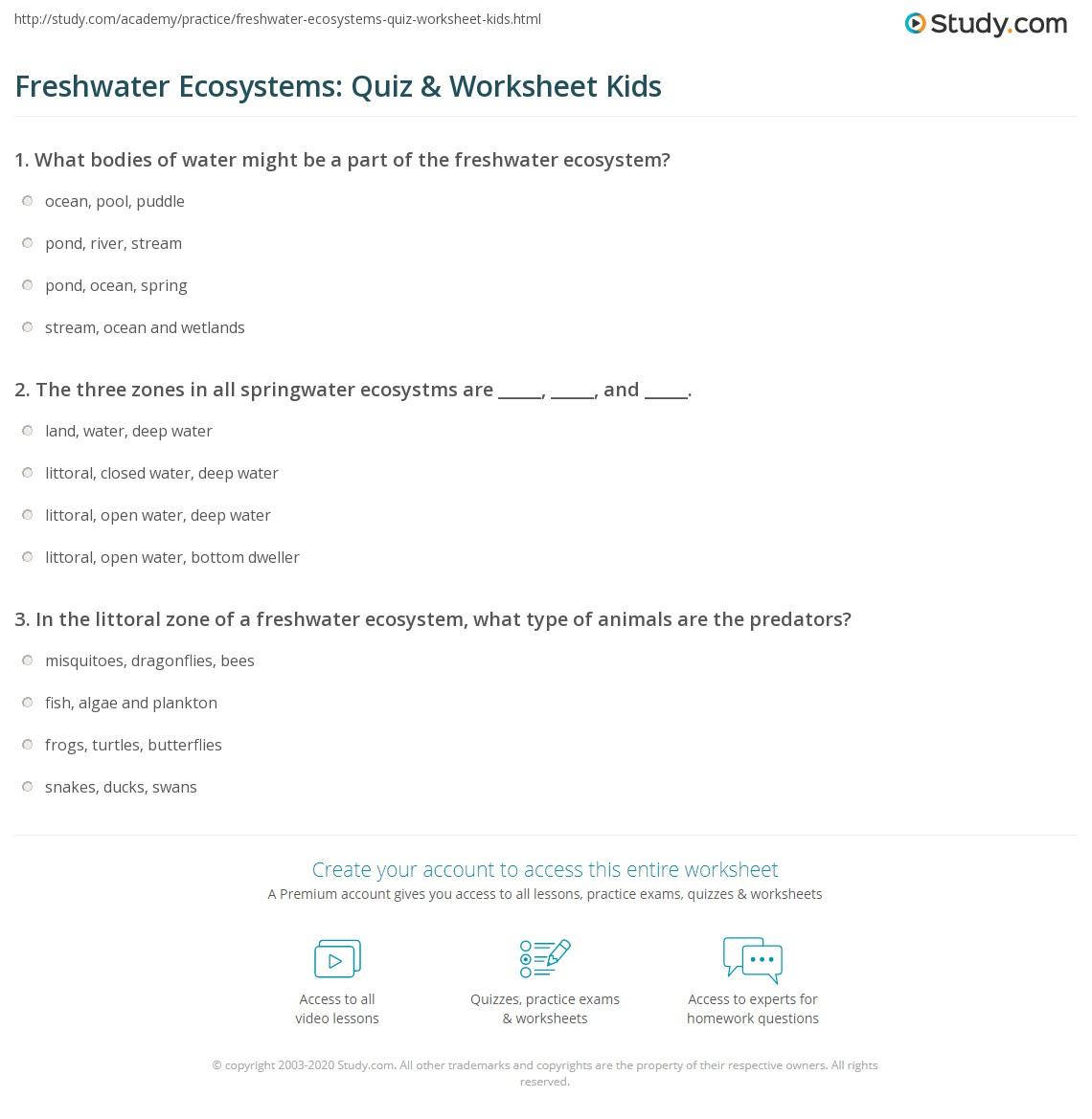 Freshwater Ecosystems Quiz Amp Worksheet Kids