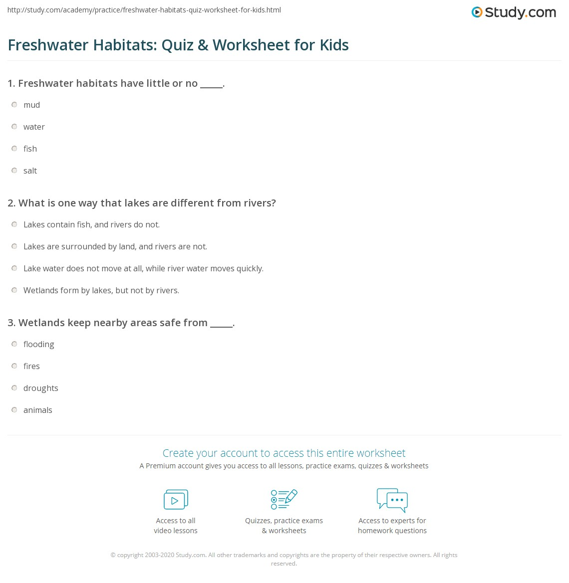 Freshwater Habitats Quiz Amp Worksheet For Kids