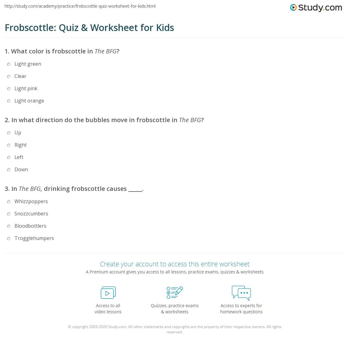 Frobscottle Quiz Amp Worksheet For Kids