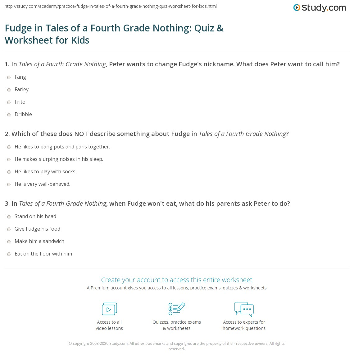 Fudge In Tales Of A Fourth Grade Nothing Quiz Amp Worksheet For Kids