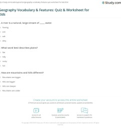 Geography Vocabulary \u0026 Features: Quiz \u0026 Worksheet for Kids   Study.com [ 1160 x 1140 Pixel ]