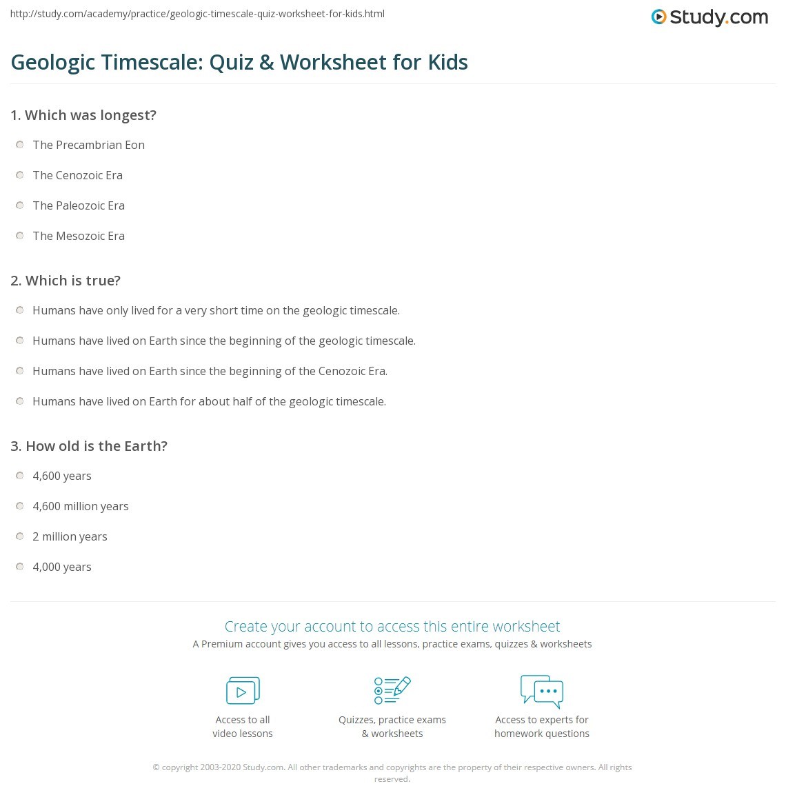Geologic Timescale Quiz Amp Worksheet For Kids