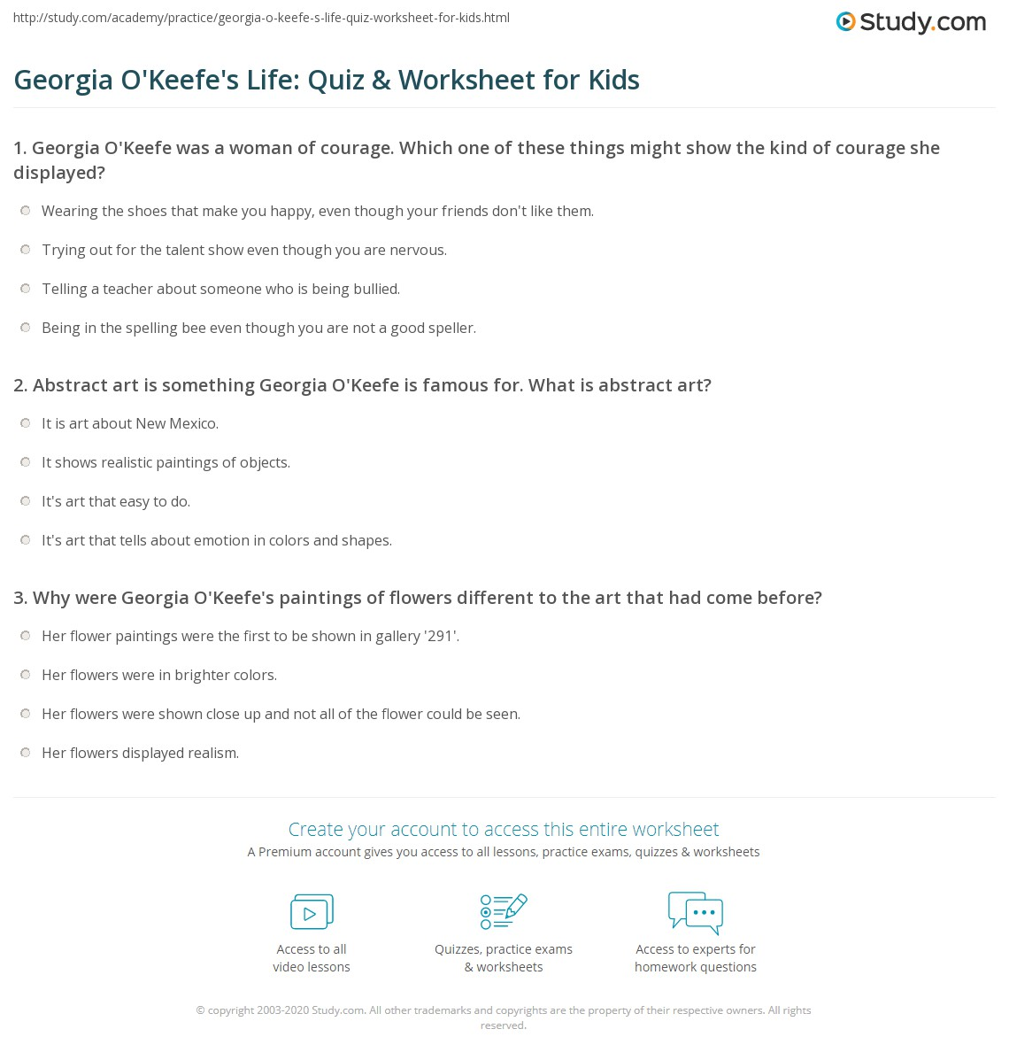 Georgia O Keefe S Life Quiz Amp Worksheet For Kids