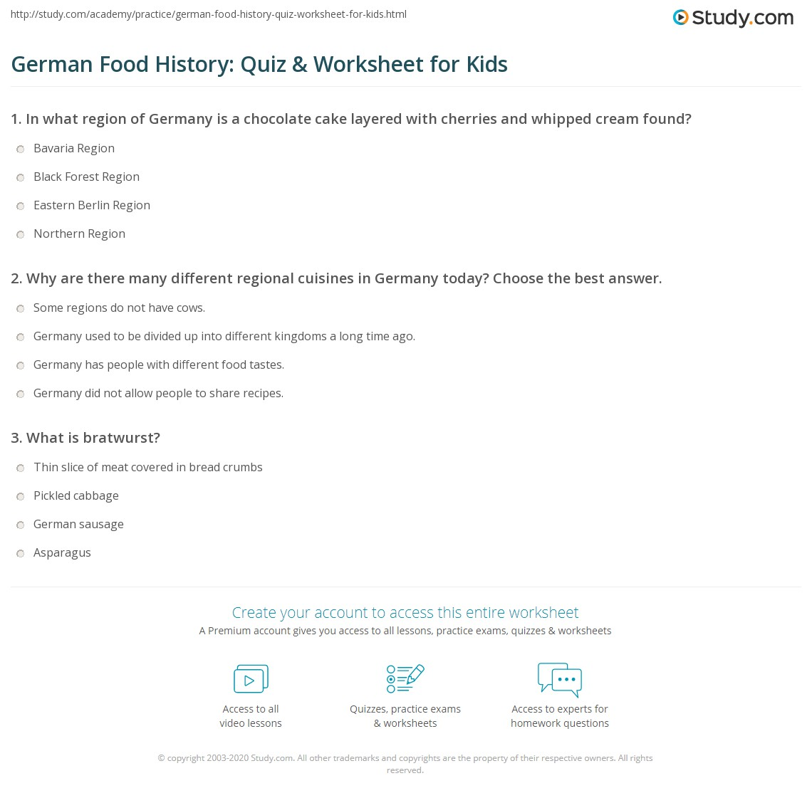 German Food History Quiz Amp Worksheet For Kids