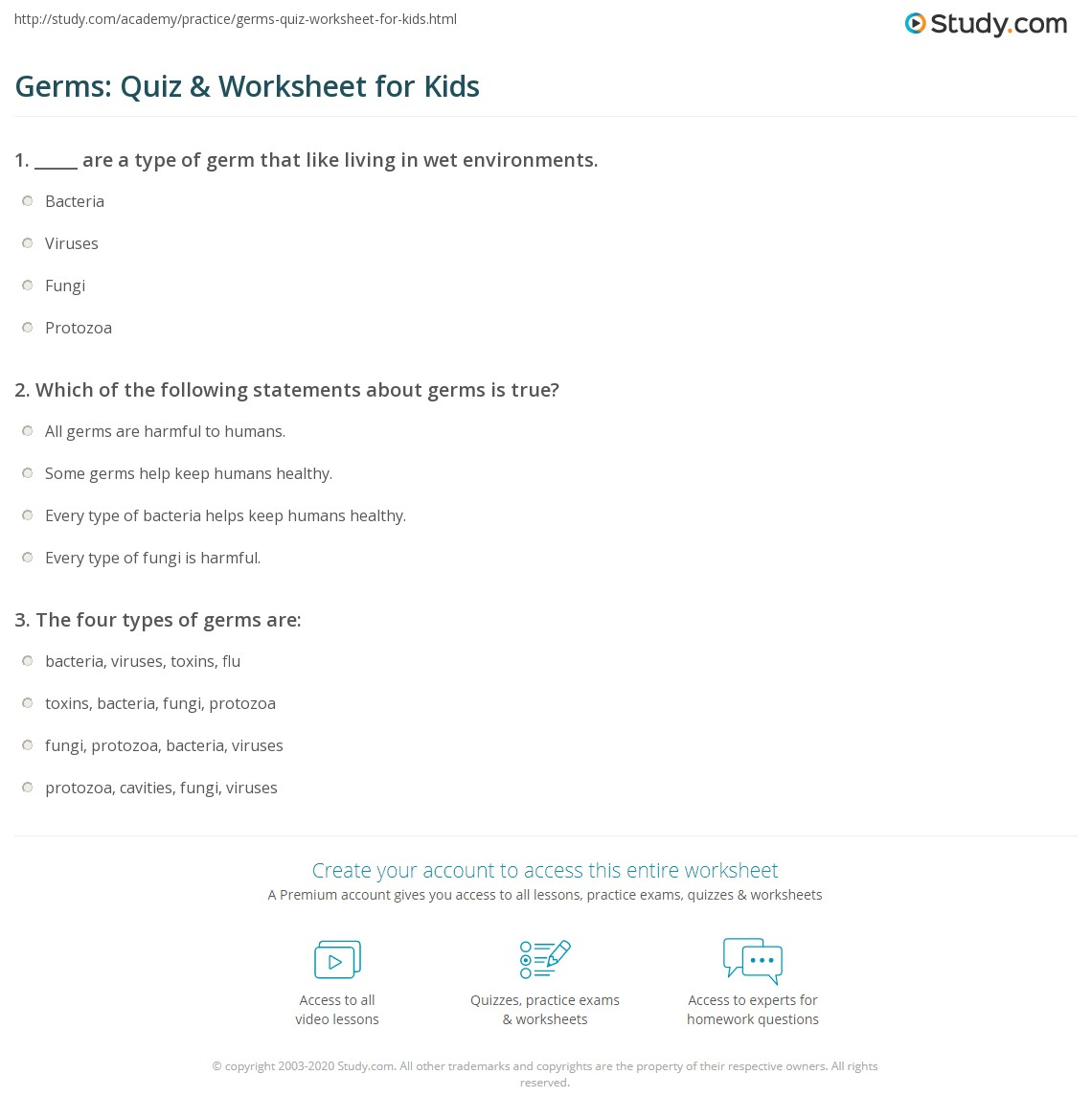 Germs Quiz Amp Worksheet For Kids