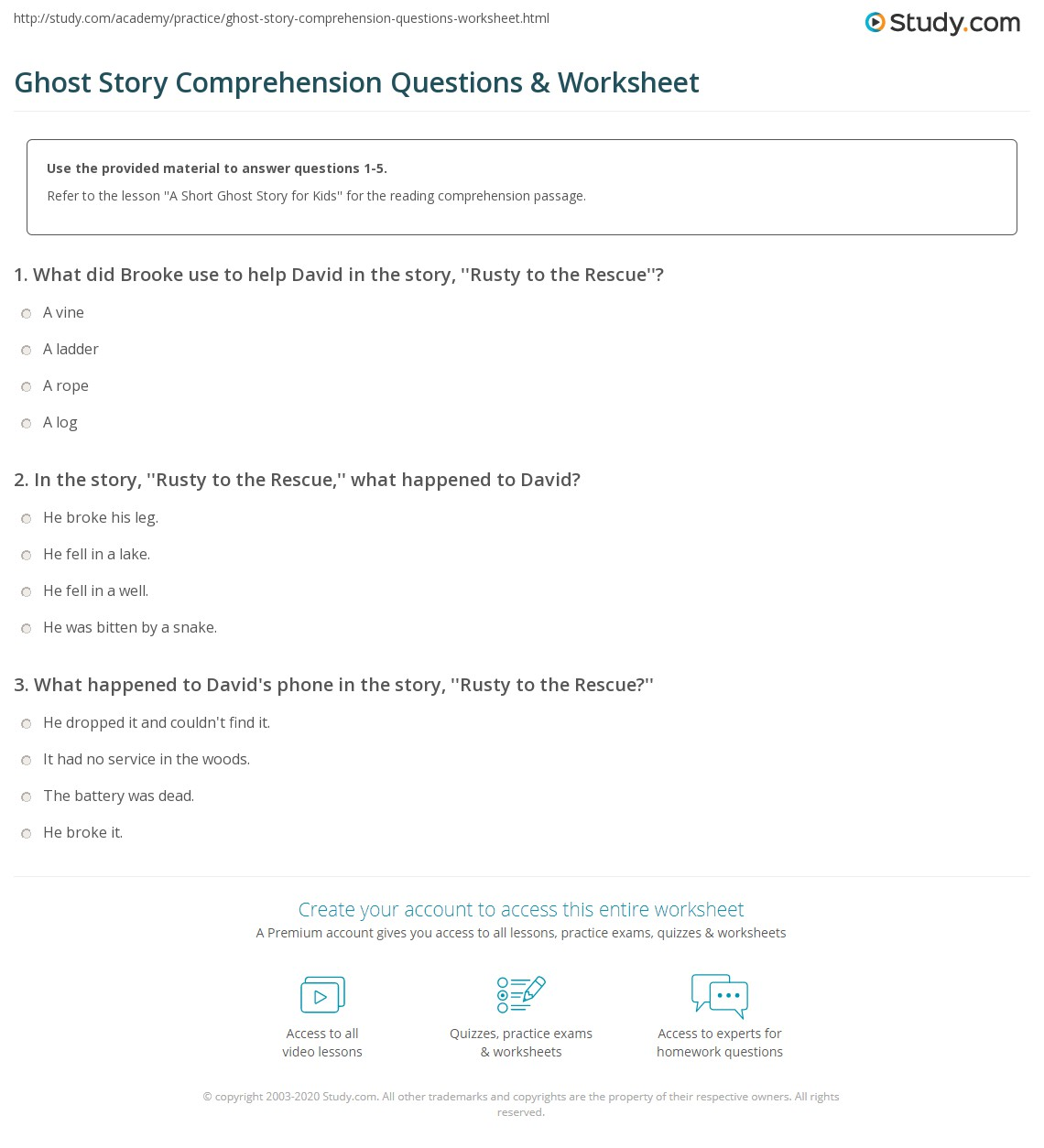 Ghost Story Comprehension Questions Amp Worksheet