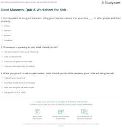 Good Manners: Quiz \u0026 Worksheet for Kids   Study.com [ 1197 x 1140 Pixel ]