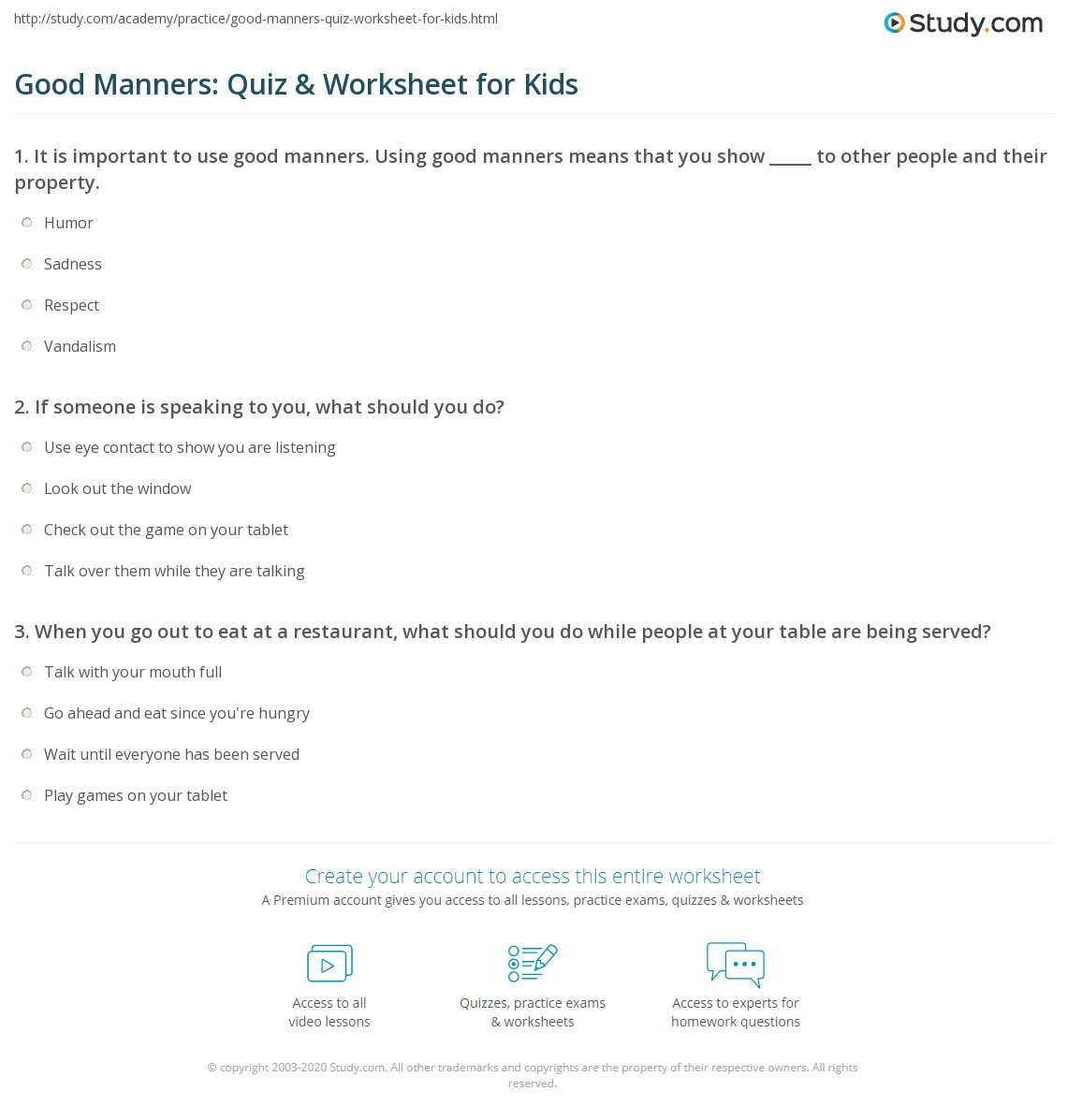 hight resolution of Good Manners: Quiz \u0026 Worksheet for Kids   Study.com