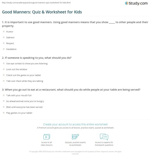 small resolution of Good Manners: Quiz \u0026 Worksheet for Kids   Study.com