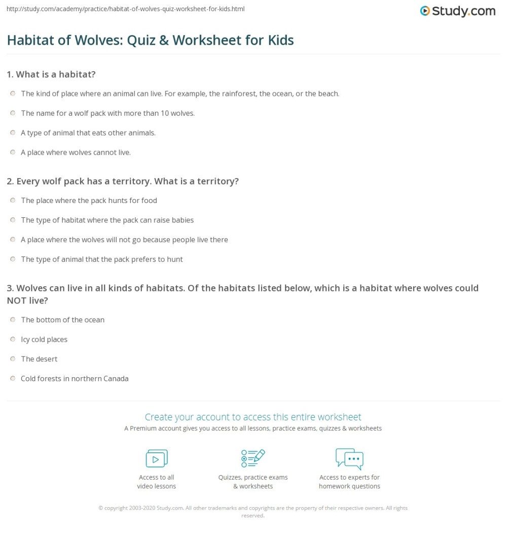 medium resolution of Wolf Habitats Worksheets   Printable Worksheets and Activities for  Teachers
