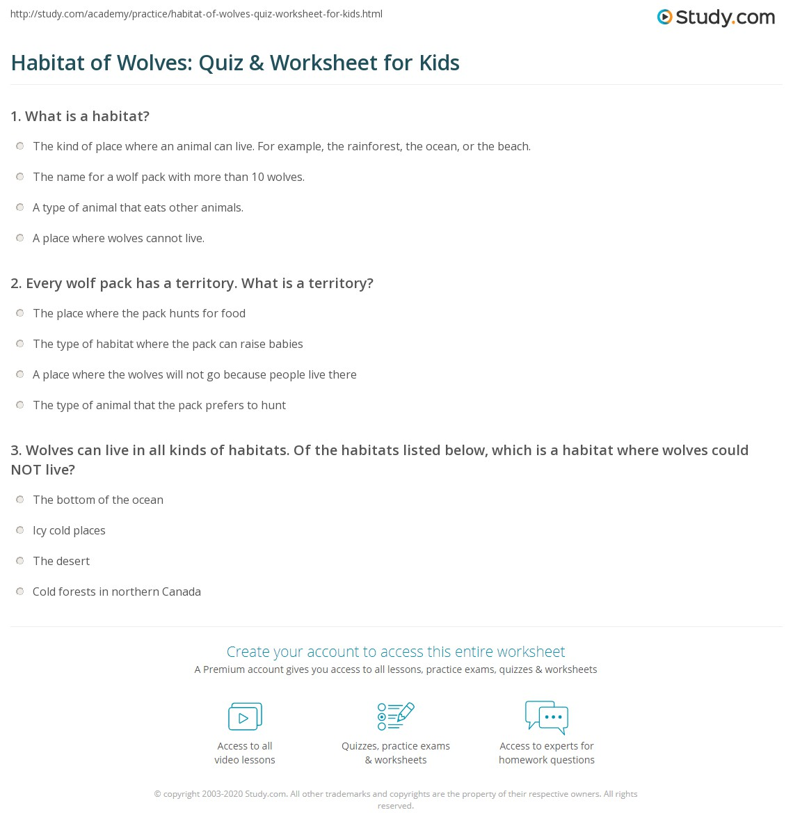 hight resolution of Wolf Habitats Worksheets   Printable Worksheets and Activities for  Teachers