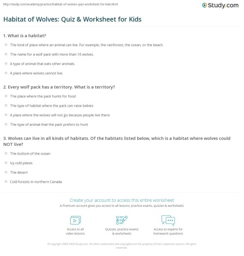 small resolution of Wolf Habitats Worksheets   Printable Worksheets and Activities for  Teachers