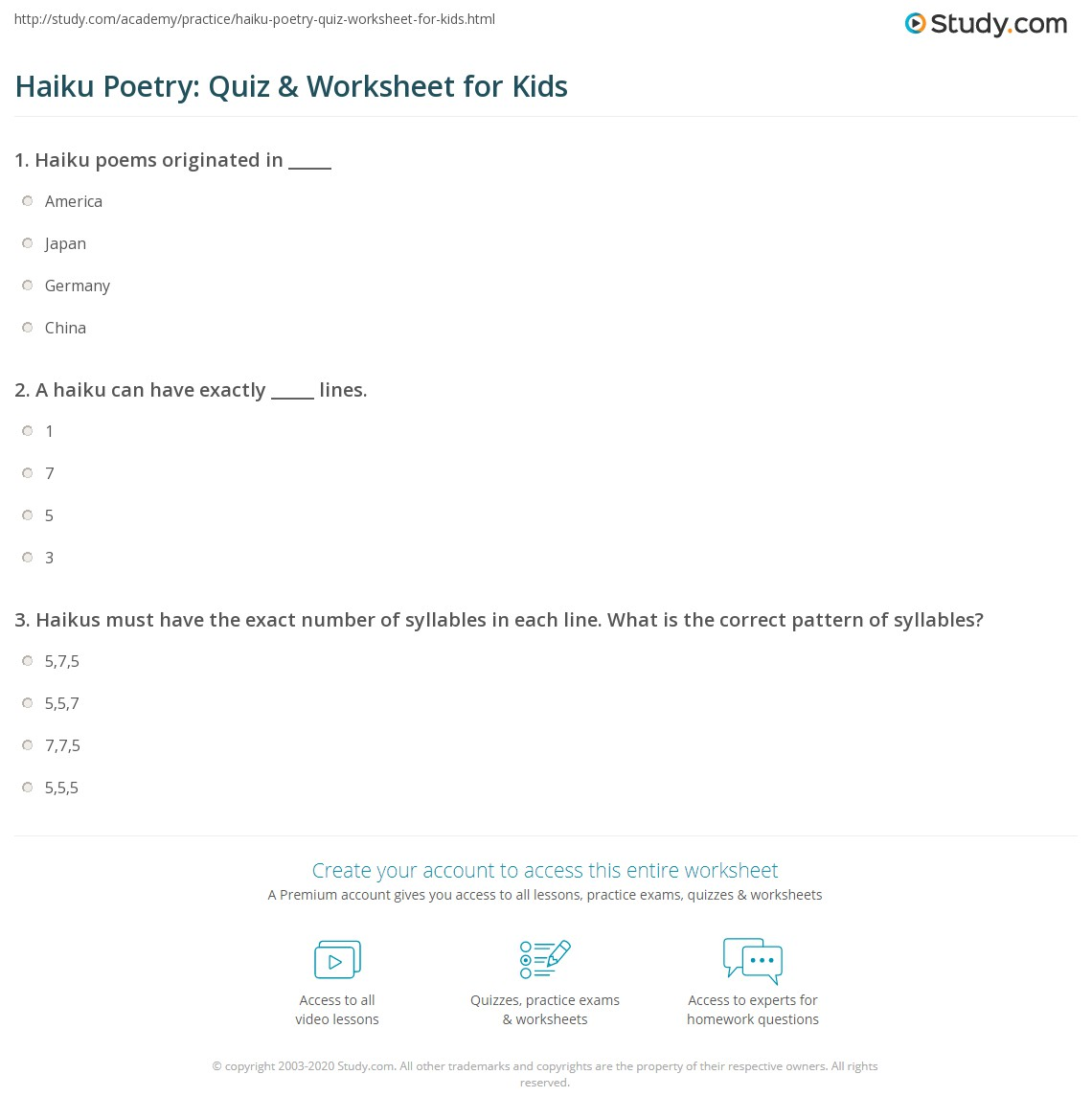 Haiku Poetry Quiz Amp Worksheet For Kids